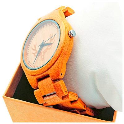 Кварцевые часы в бамбуковом корпусе с браслетом из дерева (унисекс)